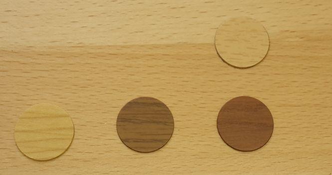 Abdeckkappe, selbstklebend, versch. Holzarten
